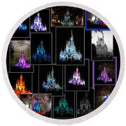 Disney Magic Kingdom Castle Collage Round Beach Towel