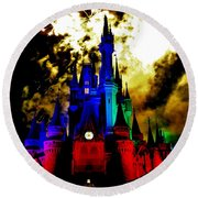 Disney Night Fireworks Round Beach Towel