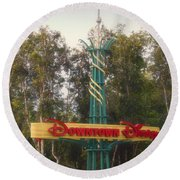 Disneyland Downtown Disney Signage 01 Round Beach Towel