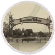 Disneyland Downtown Disney Signage 02 Heirloom Round Beach Towel
