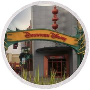 Disneyland Downtown Disney Signage 03 Round Beach Towel