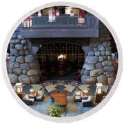 Disneyland Grand Californian Hotel Fireplace 01 Round Beach Towel