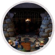 Disneyland Grand Californian Hotel Fireplace 02 Round Beach Towel