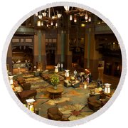Disneyland Grand Californian Hotel Lobby 04 Round Beach Towel