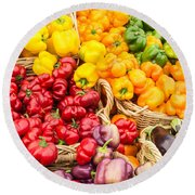 Display Of Fresh Vegetables At The Market Round Beach Towel