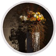 Displaying Mother Nature's Autumn Abundance Of Flowers And Colors Round Beach Towel