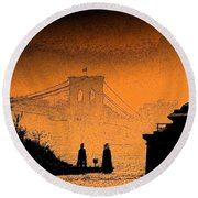 Distant Bridge Round Beach Towel
