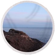 Distant Freighter Round Beach Towel