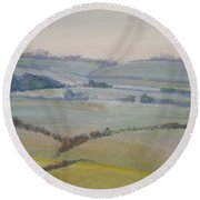Distant Hills Fields And Hedges Painting Round Beach Towel