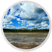 Distant Hot Springs Round Beach Towel