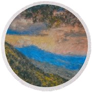 Distant Mountains - Digital Impression Paint Round Beach Towel