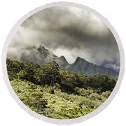 Distant Mountains Round Beach Towel