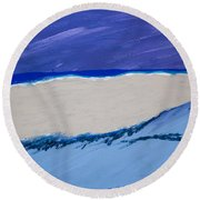 Distant Sailboat Round Beach Towel by Melissa Dawn