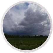 Distant Storm Round Beach Towel