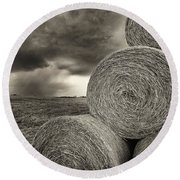 Distant Thunderstorm Approaches Hay Bales E90 Round Beach Towel