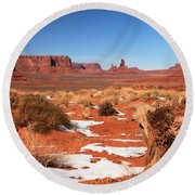 Distant Towers Round Beach Towel