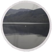 Distant View Of A White Goose Swimming Peacefully In Loch Ness Round Beach Towel