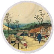 Distant View Of Mount Asama From Urawa Station Round Beach Towel by Ikeda Yoshinobu