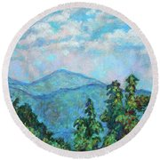 Distant View Of Peaks Of Otter Round Beach Towel