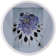 Distorted Flower-dream Round Beach Towel