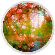 Distortions Of Autumn Round Beach Towel