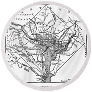 District Of Columbia, 1801 Round Beach Towel