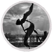 Diver And Dolphin Round Beach Towel