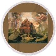 Divine Genesis Round Beach Towel