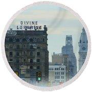 Divine Lorraine And City Hall - Philadelphia Round Beach Towel