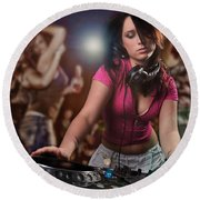 Dj Girl Round Beach Towel