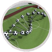 Dna String Of Soccer Player On The Field Of Stadium Round Beach Towel