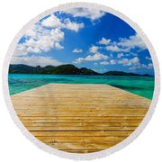 Dock And Beautiful Water Round Beach Towel