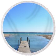 Dock And Traverse Bay Round Beach Towel