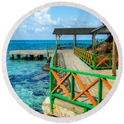 Dock And Tropical Water Round Beach Towel