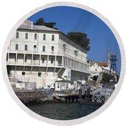 Dock At Alcatraz Island Round Beach Towel