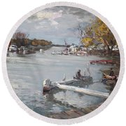 Dock At The Bay North Tonawanda Round Beach Towel