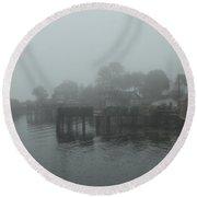 Dock In The Fog Round Beach Towel