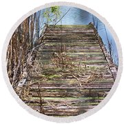 Dock In The Glades Round Beach Towel