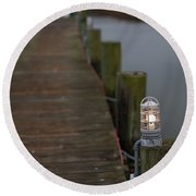 Dock Light Round Beach Towel