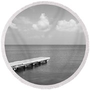 Dock, Mobile Bay Alabama, Usa Round Beach Towel