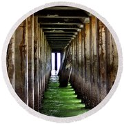 Dock Of The Bay Round Beach Towel by Bill Gallagher