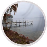 Dock On A Lake In Autumn Round Beach Towel