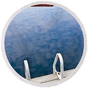 Dock On Calm Lake In Cottage Country Round Beach Towel