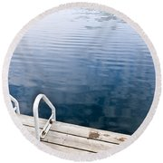 Dock On Calm Summer Lake Round Beach Towel
