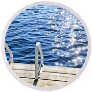 Dock On Summer Lake With Sparkling Water Round Beach Towel
