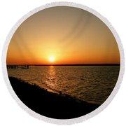 Dock On The Bay Sunset Round Beach Towel