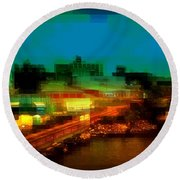 Dock On The East River - New York Round Beach Towel