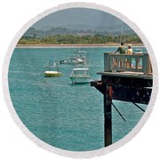 Dock Overlooking Quepos Bay-costa Rica Round Beach Towel