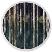 Dock Pilings Round Beach Towel