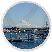 Dock View Of Mt. Rainier Round Beach Towel